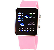 Women's Fashion Watch LED Digital Silicone Band Pink Yellow Rose Strap Watch