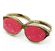 Korean Style Fashion Personality Glasses Double Loop Ring Red So Cool