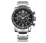 Men's Fashion Watch Quartz Stainless Steel Leather Band Black Silver