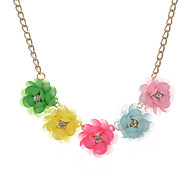 Women's Statement Necklaces Flower Crystal Unique Design Light Green Light Blue Blushing Pink Rainbow White Jewelry For Party Daily Casual