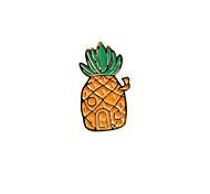Fashion Trendy Cute Orange Enamel Pineapple Metal Brooch