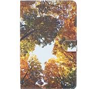 Pour samsung galaxy tab e 9.6 boîtier couverture bois jaune modèle peint carte stent portefeuille pu matériau de la peau coque de