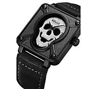 Men's Fashion Watch Wrist watch Unique Creative Watch Quartz Leather Band Skull Black Brown Strap Watch