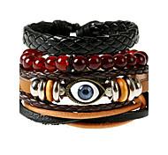European And American Retro Leather Rope Rope Wax Rope Evil Eye Bracelet