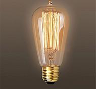 AC110/220V 60W ST64 Retro Edison Pull Tip Water Creative Personality Tungsten Filament Bulb 1pcs
