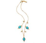 Women's Pendant Necklaces Oval Chrome Unique Design Personalized Light Blue Jewelry For Housewarming Congratulations Casual 1pc