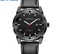 Men's Fashion Watch Quartz Leather Band Black