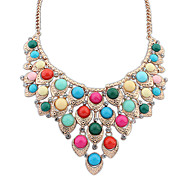 Women's Statement Necklaces Jewelry Jewelry Gem Alloy Euramerican Fashion Light Green Light Blue Rainbow Jewelry ForParty Special