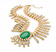 Women's Strands Necklaces Crystal Chrome Unique Design Euramerican Fashion Personalized Light Green Jewelry ForWedding Party