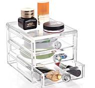 Acrylic Transparent Complex Combined Large Capacity Random Handle 3 Layer Makeup Cosmetics Storage Drawer Cosmetic Organizer Jewelry Display Box