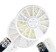 2pcs/set Fashion White&Transparent Mixed Size DIY Beauty Shining Resin Jelly Rhinestone Decoration Nail Art Round Disc Glitter Rhinestone