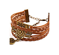 Women's Leather Bracelet Friendship Turkish Handmade Fashion Bohemian Hip-Hop Initial Jewelry leather AlloyCircle Round Heart Flower
