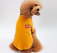 Кошка Собака Футболка Толстовка Одежда для собак На каждый день Сплошной цвет Серый Желтый Зеленый