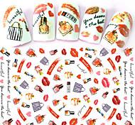 1pcs Fashion Creative Charming Design Nail Art DIY Beauty 3D Stickers Fashion Lips Lipstick Perfume Bag Nail Polish Lovely Pattern Decoration F089