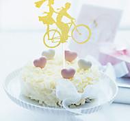 1pcs / set романтический велосипед украшают торт флаг торт вставил карточную карту для украшения невесты и жениха