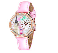Women's Fashion Watch Quartz Leather Band Pink Purple
