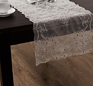 Organza White Embroidery Table runner