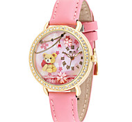 Women's Fashion Watch Quartz Digital Water Resistant / Water Proof Noctilucent PU Band Brown Pink