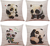 Set of 4 Cute Hand Painted Panda Pattern  Linen Pillowcase Sofa Home Decor Cushion Cover