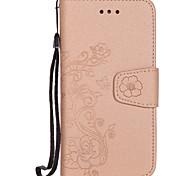 Pour apple iphone 7 7 plus couverture de boîtier porte-carte porte-monnaie flip pattern housse de carrosserie pleine couleur fleur dur pu