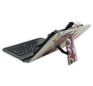 iPad Case with Keyboard USB English Version 7-8 inch Universal  Cartoon Owl  PU leather Case For IPAD Mini123 Mini4