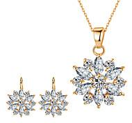Jewelry Set Bridal Jewelry Sets Pendants AAA Cubic Zirconia Euramerican Fashion Classic Cubic Zirconia Rhinestone Zinc Alloy Flower Leaf1