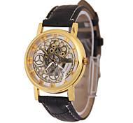 Men's Skeleton Watch Fashion Watch Quartz Leather Band Black
