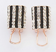 Euramerican Fashion Elegant Rhinestone Vertical Stripes Earrings Women's Business Movie Jewelry