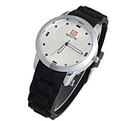 Men's Sport Watch Fashion Watch Quartz Silicone Band Black