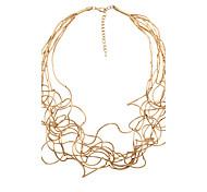 Fashion Women Trendy Irregular Copper Tube Necklace Matt Rhodium/Matt Gold/Matt Silver