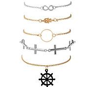 Жен. Браслеты-цепочки и звенья Браслет цельное кольцо Мода Хип-хоп Rock Первоначальные ювелирные изделияМеталлический сплав Позолота