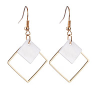 Fashion Simple Elegant Charm Plated Gold/Silver Square Shell Pendant Earrings For Women Statement Earrings Jewelry Accessories Gift Bijouterie