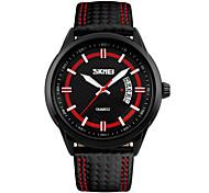 Men's Fashion Watch Wrist watch Quartz Genuine Leather Band Black