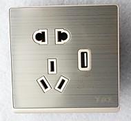 Type 86 USB Power Outlet 2 Bit 3 Bit Silvery