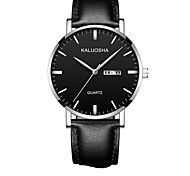 Men's Fashion Watch Wrist watch Digital Calendar Leather Band Black