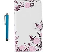 Pour étui en carton étui plein corps avec stylet fleur dur pu cuir pour apple ipod touch 5 touch 6
