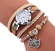 MINHIN Brand Women Casual Wristwatches Leather Braided Owl Pendant Handmade Bracelet Clock Ladies Quartz Strap Watch