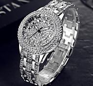 BAOSAILI Classic Lotus Rhinestones Alloy Strap Stainless Steel Back Case Wrist Watch for Women Fashion Bracelet Watch
