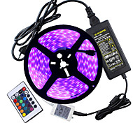 HKV® 1 Pcs Waterproof IP67 5050 LED Strip Light RGB 5 Meters 300LED 5050SMD 24kyes Remote Controller 5A Power Adapter AC 100-240V