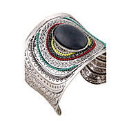 Жен. Браслет цельное кольцо Браслет разомкнутое кольцо ID браслеты Мода Винтаж Богемия Стиль Панк бижутерия Резина Кристаллы Круглый