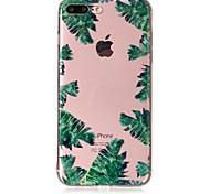 Случай для яблока iphone 7 7 плюс крышка случая зеленые листья картина чувствую лак рельеф высокое проникновение материал телефона tpu