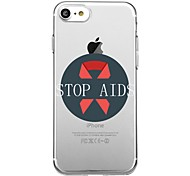 Для iphone 7plus чехол для корпуса прозрачный узор задняя крышка чехол слово / фраза сердечная помощь красная лента мягкая tpu для iphone