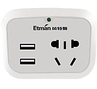 Телефон usb зарядное устройство au штепсельная вилка питания 1 розетка 2 порта USB 10a ac 100v-250v
