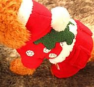 Собака Толстовки Одежда для собак Рождество Сплошной цвет Красный