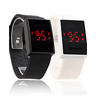 Silicone Band Couple Sports Style Red LED Wrist Watch