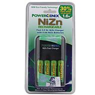rápida 3-5hrs poder Enix NiZn carregador com 4 pilhas AA