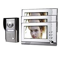 tre monitor a colori da 7 pollici videocitofono sistema di porte con telecamera coperchio in lega resistente alle intemperie