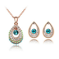 Water Droplet Deign Crytal and Platinum Plated Alloy Necklace with Earring