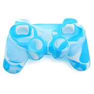 protectora de color dual de silicona caso para PS3 controlador (azul y blanco)
