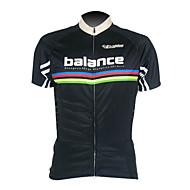 kooplus mænds cykling trøje kort ærme 100% polyester sort åndbar